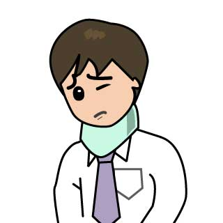 頚椎カラーを付けるサラリーマン男性(ムチウチ症)